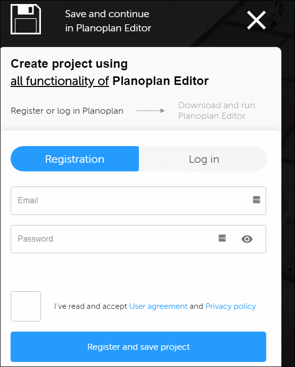 save and continue in panopplan editor